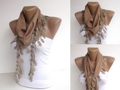 light brown women fashion scarf  summer trends  spring  by seno, $15.00