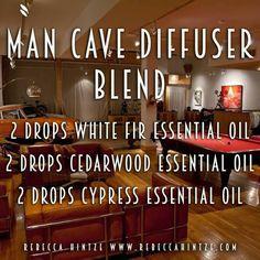 Man Cave Diffuser Blend 2 drops White Fir essential oil 2 drops Cedarwood essential oil 2 drops Cypress essential oil