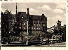 Stettin Rathaus mit Manzelbrunnen