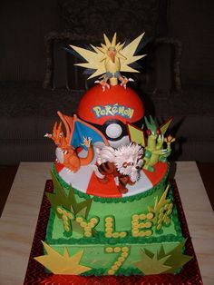Pokemon Birthday This is a Pokemon cake I made for a 7 year old who knows EVERYTHING about Pokemon! I now know a lot about Pokemon myself,...