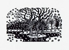 ERIC RAVILIOUS WOOD ENGRAVING WINTER CONSERVATION MOUNTED AND FRAMED