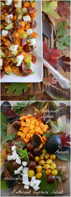 Fall Caprese Salad with Butternut and Hot Bacon Dressing! A fall twist on the Italian classic!