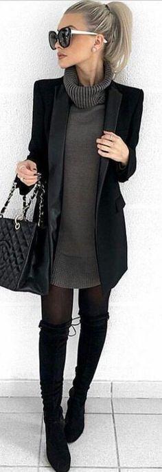 mztaylor88 / Black Knee High Boots, Black Stockings, Gun Metal Jersey Dress, a Long Black Blazer or Coat, an Oversized Black Handbag and Black Sunglasses