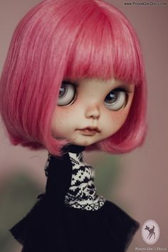 Blythe doll - pink hair, black and white outfit