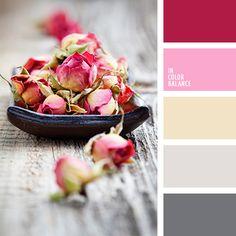 amarillo pastel, amarillo y rojo, color rosa de té, colores de la rosa de té, colores de la rosa secada, colores para el día de San Valentín, colores para una velada de San Valentín, gris, matices cálidos del gris, paleta de colores románticos, rojo y rosado, rosado vivo, rosado y rojo, tonos grises, tonos