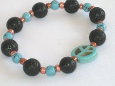 Turquoise Howlite Black Lava Stone Copper Beaded by 2012BellaVida, $14.00