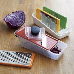 Shop OXO ® Grate and Slice Set.  Quick prep is a snap with this convenient multifunctional utensil, equipped with four plates for coarse and fine grating, slicing and julienne cutting.