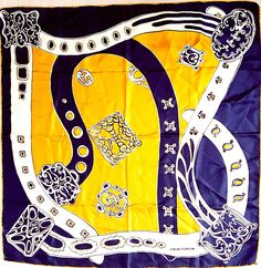 Vintage 90's CEINTURON PARIS Fine Silk Twill Large Scarf in Rich Navy, Gold, Ivory Tones - Signed w Dangling Insignia Badge