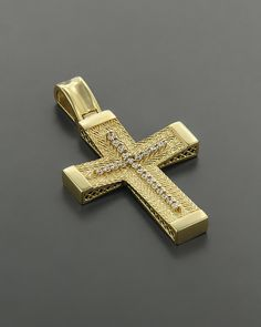 Σταυρός βαπτιστικός Χρυσός Κ14 με Ζιργκόν Christian Symbols, Diamond Cross, Crosses, Christianity, Jewelery, Bling, Pendant, Soldering, Pendants