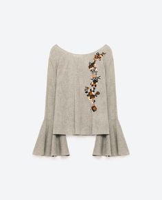 Image 8 of EMBROIDERED FRILLED SLEEVE BLOUSE from Zara