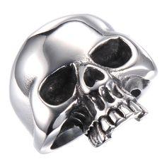 R&B Joyas - Anillo de hombre colección bad ass, cráneo XL estilo biker gótico, acero inoxidable, anillo 25mm, color plateado: Amazon.es: Joyería