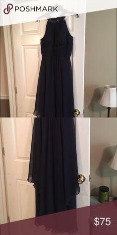 Never worn mother of the groom dress! Beautiful navy dress from Nordstroms. Studded neck, high waist, uneven chiffon body. Nordstrom Dresses Wedding