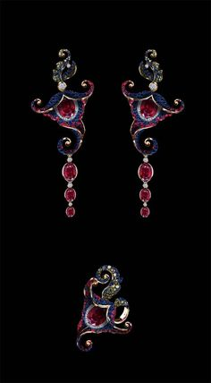 Jewellery Theatre's yellow gold Flowers earrings and ring features white, green and blue diamonds, rubies and sapphires.