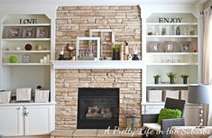 I would love something around the fireplace that looks like this. TV on one side and general decor and books filling in.