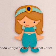 Non Paper Dolls offered by Stone House Stitchery **Outfit Only** Jasmin Outfit Felt Non Paper Doll Embroidery Design