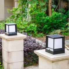 Solar Pillar Lights Die-casting Aluminum Wireless Waterproof Dual Color Led Stigma Lamp For Garden Outdoor Column Post Caps Lamp Gate Lights, Column Lights, Pillar Lights, Lighting Your Garden, Fence Lighting, Outdoor Lighting, Landscape Lighting, Lighting Ideas, Lighting Design