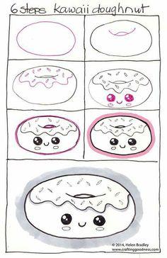 6 steps kawaii doughnut