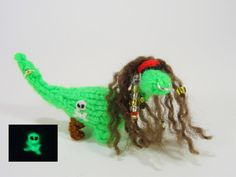 Pirate  Dinosaur   Miniature  Green   Glow In The by Suzzlescraft