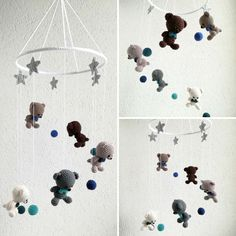 Babymobile mit Bären, Sternen und Kugeln