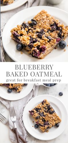 Baked Blueberry Oatmeal This blueberry baked oatmeal is absolutely divine. It's perfectly chewy but still soft with perfect sweetness. It's a filling and easy grab and go breakfast, great for meal prep, and great for brunch or breakfast entertaining, too! Grab And Go Breakfast, Breakfast Bake, Breakfast Dishes, Meal Prep Breakfast, Healthy Oatmeal Recipes, Vegetarian Breakfast Recipes Easy, Healthy Foods, Four, Clean Eating Snacks