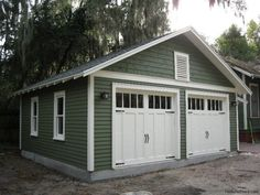 detached two-car Garage to complement a historic bungalow in Gainesville, Florida by Historic Shed Cheap Garage Doors, Diy Garage Door, Garage Shed, Garage Door Design, Two Car Garage, Garage Plans, Shed Plans, Garage Storage, Garage Ideas