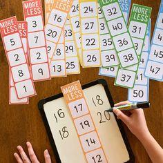 One More, One Less, Ten More, Ten Less Number Cards – you clever monkey - Mathe Ideen 2020 Math For Kids, Fun Math, Number Games For Preschoolers, Kids Fun, Year 1 Maths, Early Years Maths, Math Intervention, Math Classroom, Kindergarten Math Centers