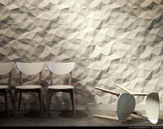 3-D wallpaper that looks like paper that's been crumpled and then smoothed out.  Crush™ PANEL modularArts® InterlockingRock® modern wallpaper