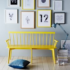 Painting this bench seat yellow really creates a statement piece of furniture and enhances its great design.