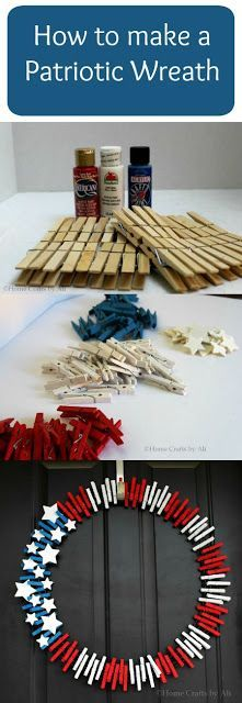 DIY Patriotic Wreath - How to make a clothespin wreath for Memorial Day and of July Patriotic Crafts, Patriotic Wreath, July Crafts, Summer Crafts, Crafts To Sell, 4th Of July Wreath, Holiday Crafts, Crafts For Kids, Flag Wreath