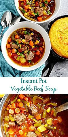 Pot Vegetable Beef Soup Instant Pot vegetable beef soup is a hearty and easy dinner that the whole family will love!Instant Pot vegetable beef soup is a hearty and easy dinner that the whole family will love! Easy Vegetable Beef Soup, Beef Veggie Soup, Beef Soup Recipes, Veg Soup, Hamburger Soup, 5 Can Soup Recipe, Pressure Cooker Vegetable Soup, Quinoa Soup, Pasta Recipes