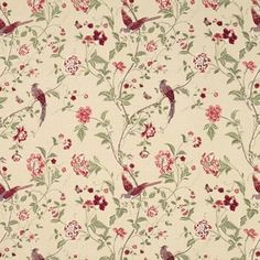 Summer Palace Cranberry Red Floral Linen/ Curtain Fabric