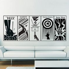 The Avengers Captain America Thor Hulk Hawkeye Iron man Vinyl Wall Art Decal: This would be perfect for the boys closet! Each character on a door.