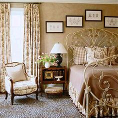 Brown Toile Vintage Bedroom with ornate iron bed. Dream Bedroom, Home Bedroom, Bedroom Decor, Pretty Bedroom, Serene Bedroom, Calm Bedroom, Bedroom Ideas, Master Bedroom, Brown And Cream Bedroom