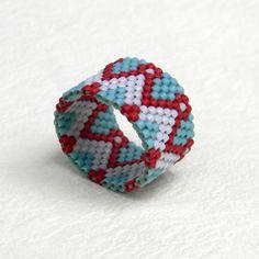 Beadwoven peyote ring - ethnic style beaded jewelry