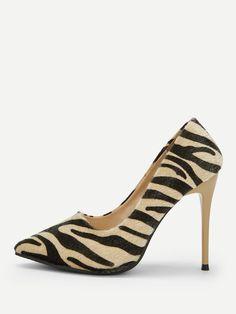 5f16886b1f9 Casual Point Toe Animal Apricot High Heel Stiletto Zebra Pattern Stiletto  Heels Trendy Dresses
