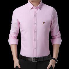 1ee0300b23f Men Shirts Casual Long Sleeved Solid Shirt Slim Fit Male Social Spring  Autumn Dress Shirts Mens