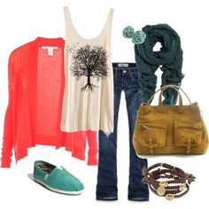 Love the Coral and Aqua with denim
