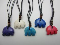 Hand Made Indonesian Fairtrade Pendant Necklace Stone Elephant Design 5 Colours