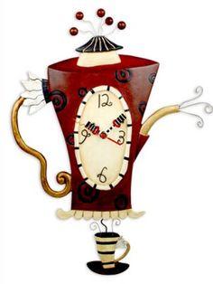 Steamin' Tea Coffeepot Clock by Allen Designs