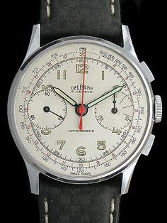 $800 // vintage 1940 // manual wind // Delbana Chronograph Vintage Swiss Made Watch