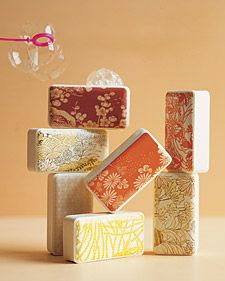 DIY Japanese-Motif Soaps ~~~ Great gift idea! Create extra sets of these pretty soaps to have on hand for unexpected guests.