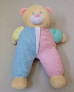 Tupelo Toys Thermal Plush Bear Green Blue Pink Yellow  Replacement Lovey  #TupeloToys