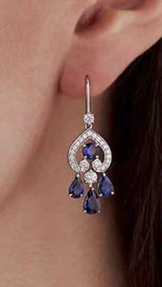 Sapphire Earrings, Gemstone Earrings, Trendy Jewelry, Fine Jewelry, Antique Jewelry, Vintage Jewelry, Delicate Jewelry, Indian Jewelry, Diamond Jewelry