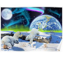 Polar Bear Cubs playing in snow Fantasy Earth Day design on a Poster