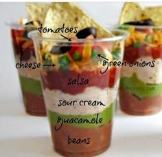- Spend With Pennies Individual 7 Layer Dip Cups Recipe! -- You could use fat free shredded cheese, fat free sour cream, and fat free beans. Not much you can do about the guacamole. Oh and be sure to bake your chips. Snacks Für Party, Bbq Food Ideas Party, Party Recipes, Superbowl Party Food Ideas, Party Food Bars, Party Finger Foods, Bbq Ideas, Dinner Recipes, Mexican Food Recipes