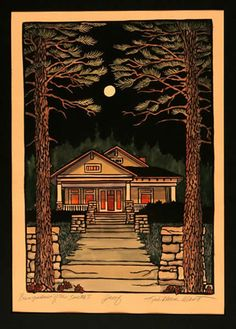 Kathleen West - Block Print - Bungalows Of The South I - Arts & Crafts