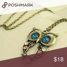 """Gold Owl Multicolored CZ Sweater Necklace New Gold Plated 2-2.5"""" Pendant Fashion Jewelry Jewelry Necklaces"""