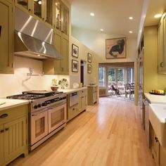 bamboo floors and green cabinets!