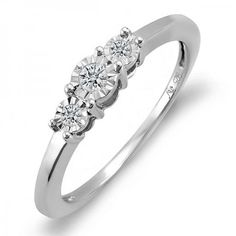 Share and get $20 off your order of $100 or more. 0.15 Carat (ctw) Sterling Silver Round Diamond Ladies Bridal Engagement Three Stone Ring Look of 0.50 CT total wt - Dazzling Rock #https://www.pinterest.com/dazzlingrock/