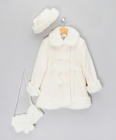 Satin Lined Crystal Buttons Nice Toddler Girl White Faux Fur Button Up Coat Size 2t